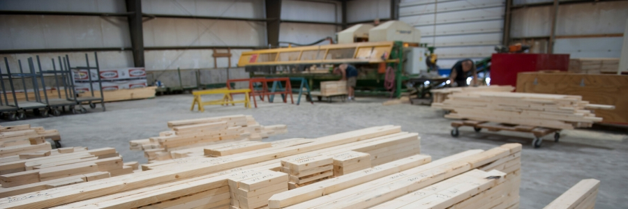 warehouse full of plywood