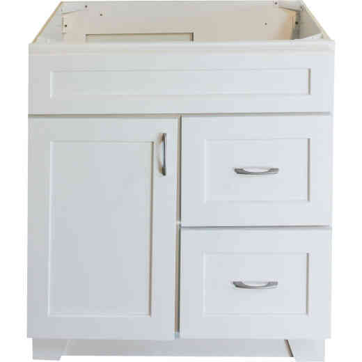 CraftMark Shaker Retreat White 30 In. W x 34 In. H x 21 In. D Vanity Base, 1 Door/2 Drawer