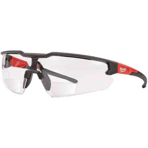 Milwaukee Red & Black Frame Safety Glasses with +2.00 Magnified Clear Anti-Scratch Lenses