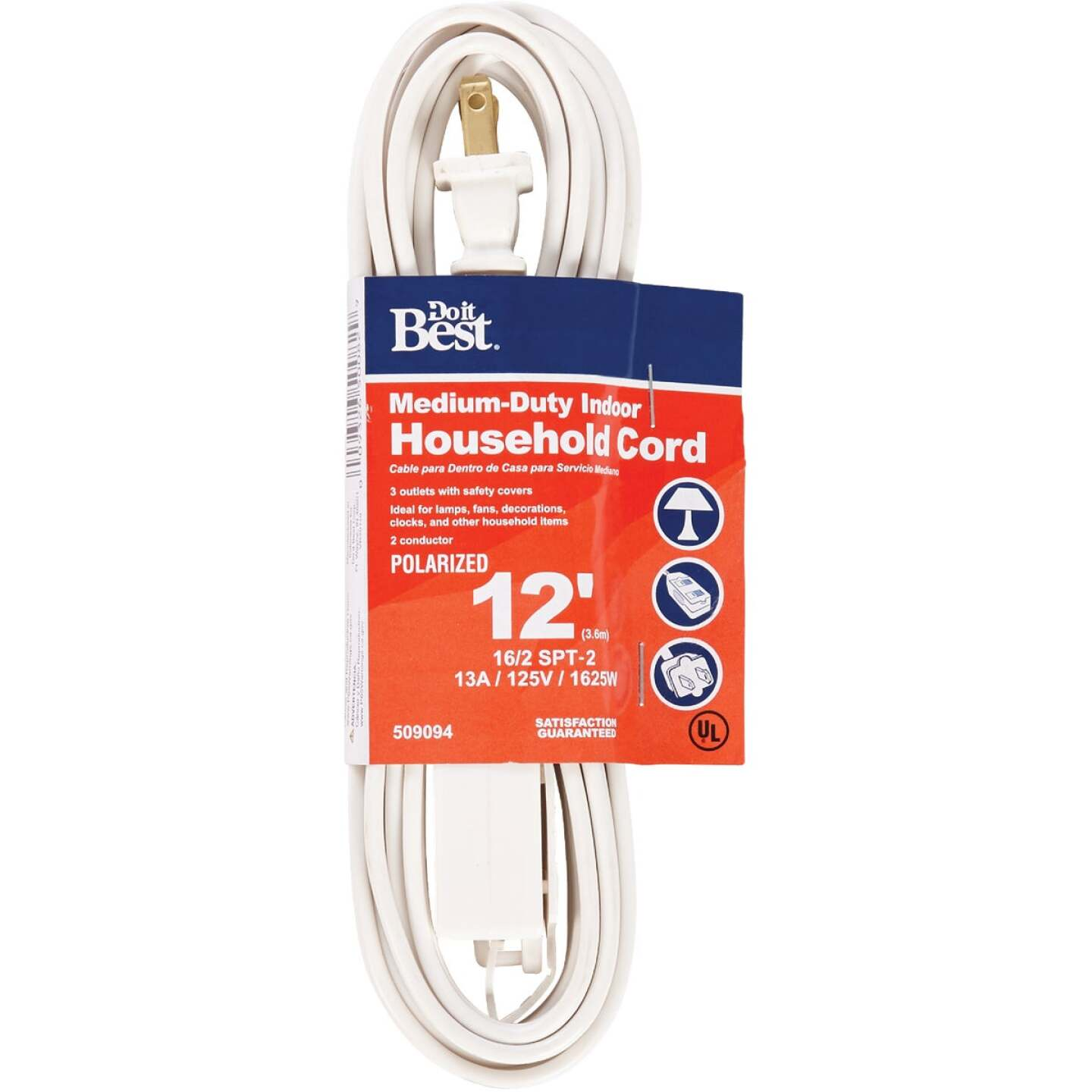Do it Best 12 Ft. 16/2 White Cube Tap Extension Cord Image 1