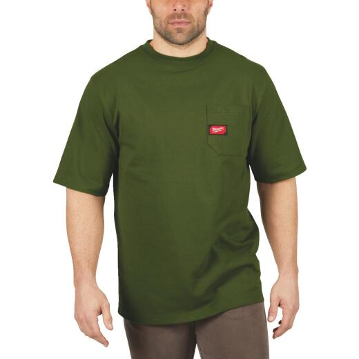 Milwaukee 2XL Olive Green Short Sleeve Men's Heavy-Duty Pocket T-Shirt