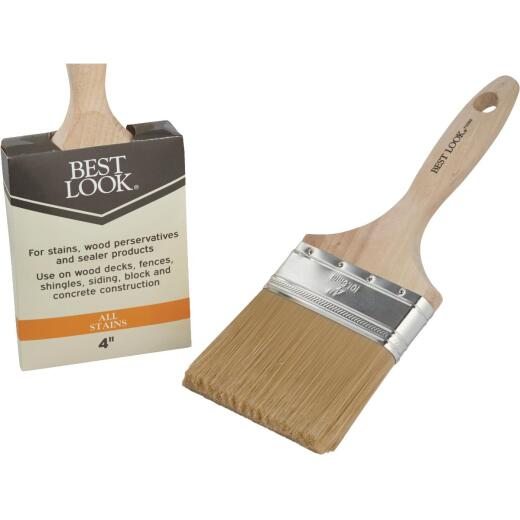 Best Look 4 In. Polyester Staining & Waterproofing Stain Brush