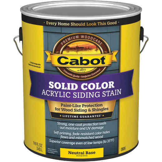 Cabot Solid Color Acrylic Siding Exterior Stain, Neutral Base, 1 Gal.